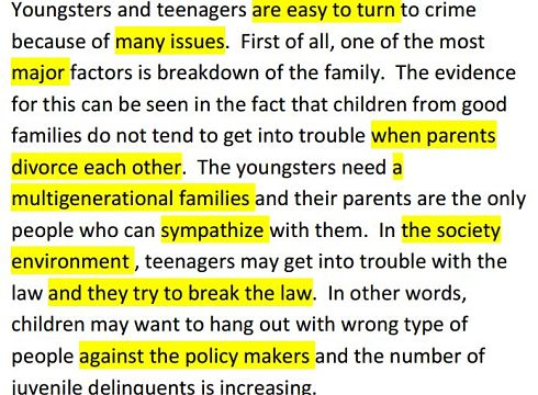 Child crime IELTS writing Task 1 Task 2 model answers charts tables Speaking