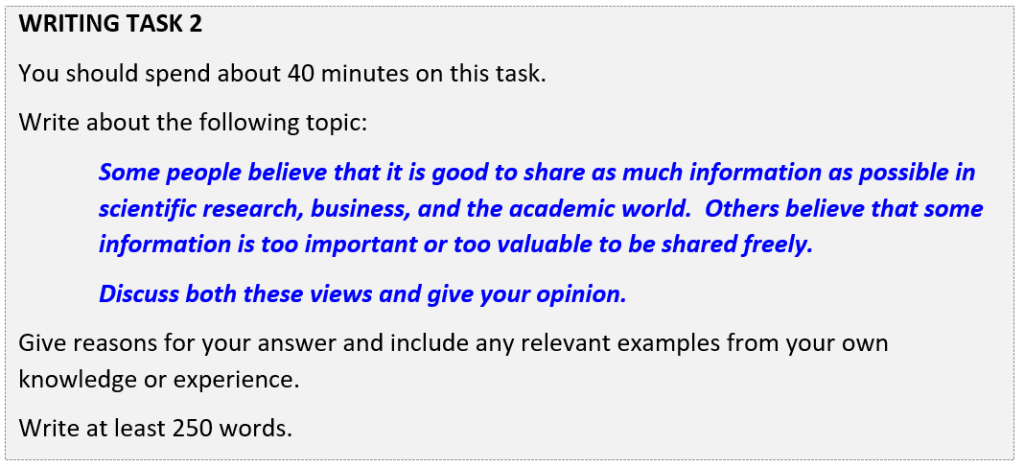 IELTS writing Task 2 question about sharing information