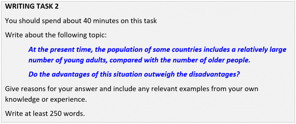 IELTS writing Task 2 question about having more young people