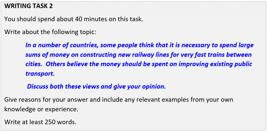 IELTS writing Task 2 question about building high speed rail