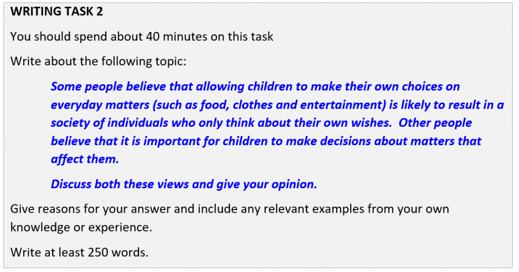 IELTS writing Task 2 question allowing children to make decisions