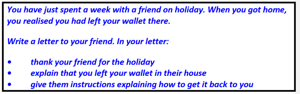 IELTS writing Task 1 General Training Left wallet