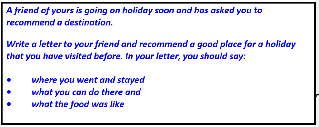 IELTS writing Task 1 General Training Left holiday advice