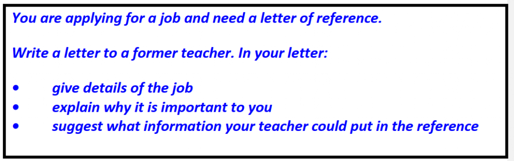 IELTS writing Task 1 General Training Former teacher