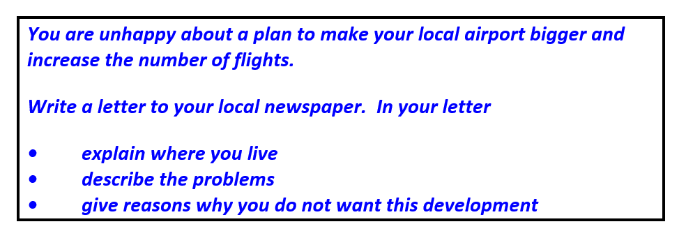 IELTS writing Task 1 GT question about a local airport