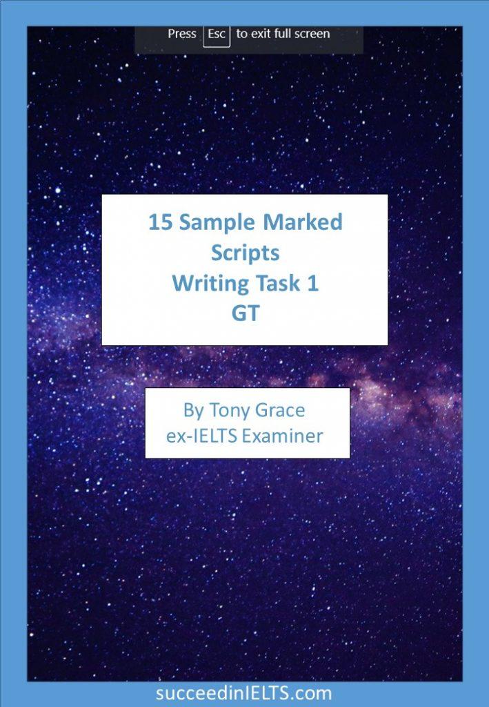 IELTS writing task 1 GT Sample scripts