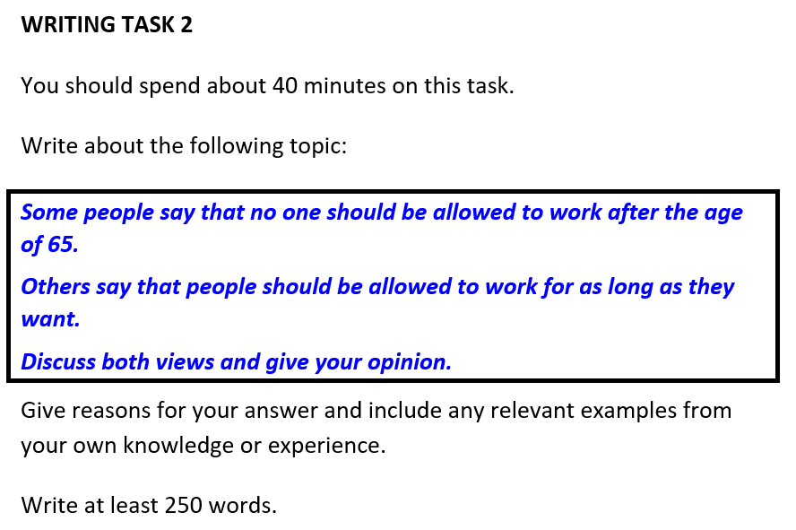 IELTS Writing task 2 model answer Compulsory retirement at 65